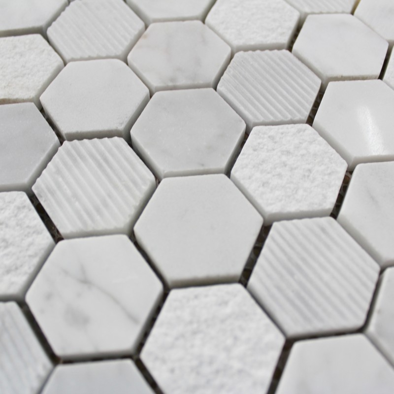 Mosa que marbre carrare hexagone blanc carrelage mosaique for Carrelage en marbre blanc