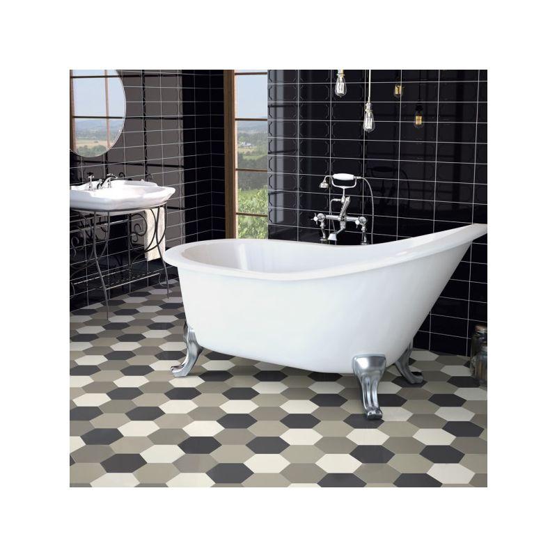 Carrelage hexagonal gris graphite sol et mur parquet - Carrelage parquet gris ...