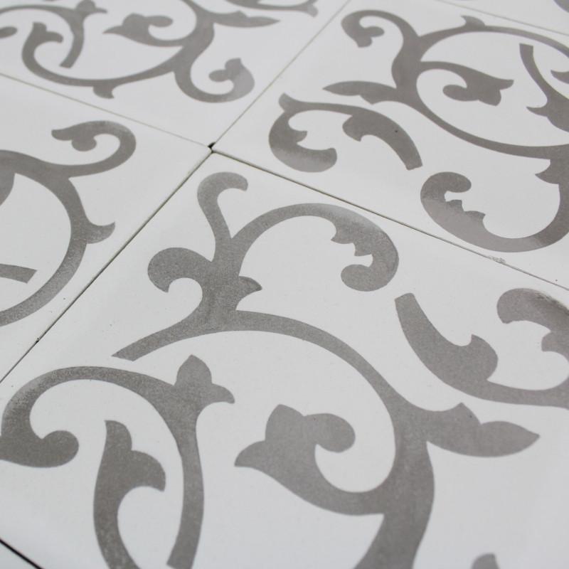 carreau ciment ronce white carrelage ciment blanc motifs d cors. Black Bedroom Furniture Sets. Home Design Ideas