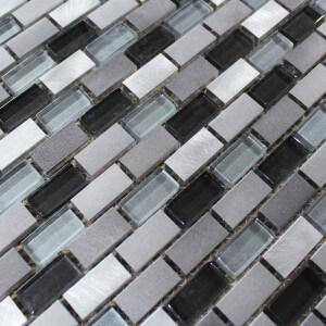 Mosaïque sol et mur Auckland, carrelage mosaique salle de bain aluminium et verre