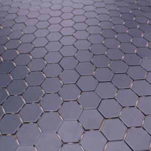 Mosaïque sol et mur Hexagone Bleu mat