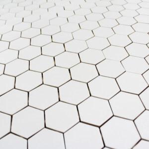 Mosaïque sol et mur Hexagone Blanc mat