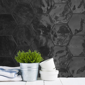 Carrelage hexagonal mur Hexa Wall Black