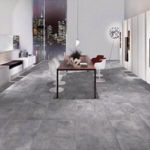 Carrelage sol et mur aspect béton lustré Nice Anthracite Lapatto 30x60 cm
