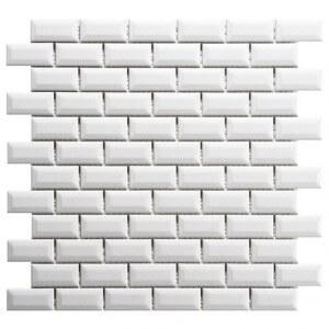 Mosaïque mur faïence brillante Diamant métro porcelaine blanc