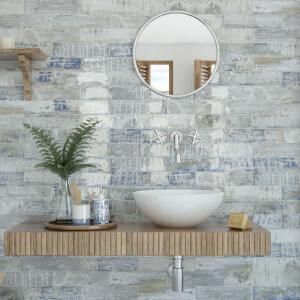 Carrelage mural bois blanc brillant Colonial Brillo