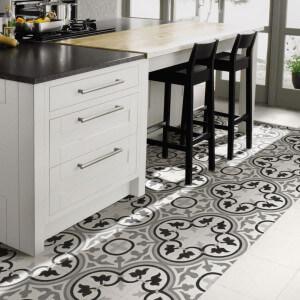 Carrelage sol et mur aspect carreau ciment noir et blanc Barcelona Classic 25x25 cm