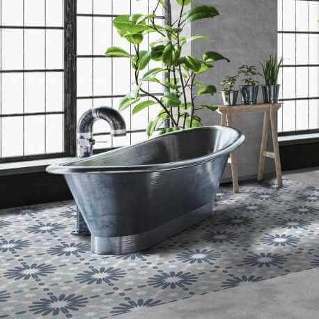 Carrelage sol et mur aspect carreau ciment multicolore bleu Valencia Dosaguas 25x25 cm
