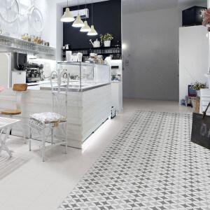 Carrelage sol et mur aspect carreau ciment gris et blanc Barcelona Triumph 25x25 cm