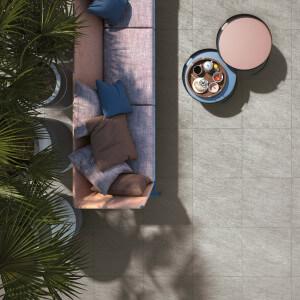 Carrelage sol et mur extérieur aspect pierre Max Gris 45x45 cm antidérapant