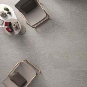 Carrelage sol et mur extérieur aspect pierre gris Kobe Quartz 45x45 cm antidérapant