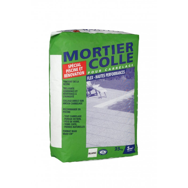 Colle carrelage sp cial piscine et r novation blanc for Ciment colle pour carrelage piscine
