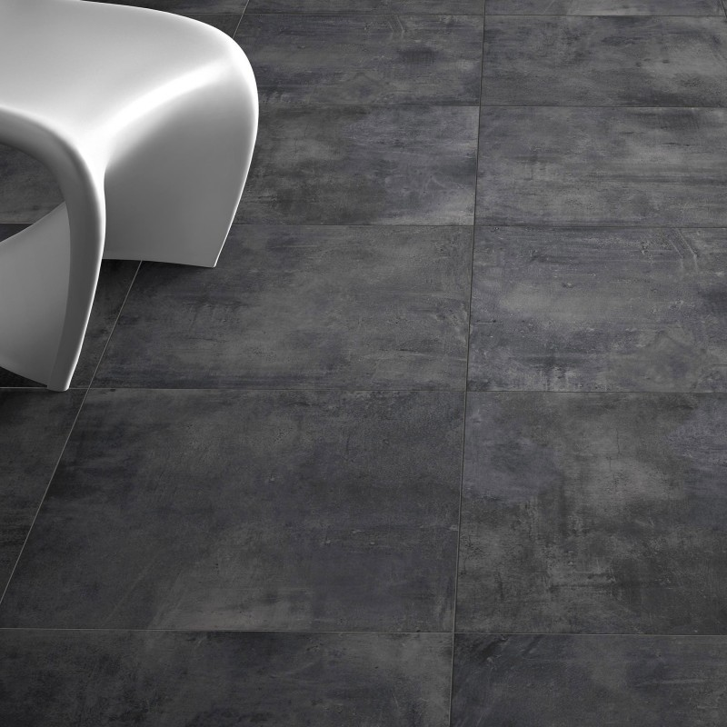 Carrelage sol aspect b ton nice anthracite 80x80 cm for Carrelage sol gris